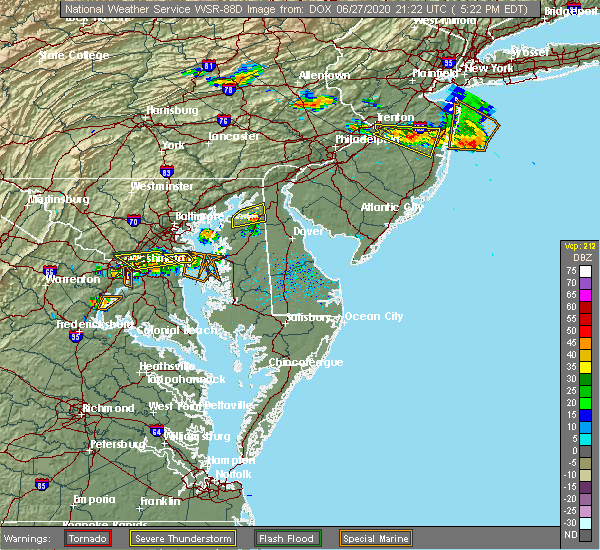Radar Image for Severe Thunderstorms near Kennedyville, MD at 6/27/2020 5:29 PM EDT