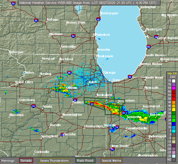 Radar Image for Severe Thunderstorms near Martinton, IL at 6/27/2020 4:37 PM CDT