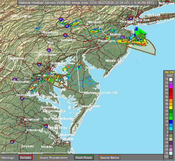 Radar Image for Severe Thunderstorms near Kent Narrows, MD at 6/27/2020 5:40 PM EDT