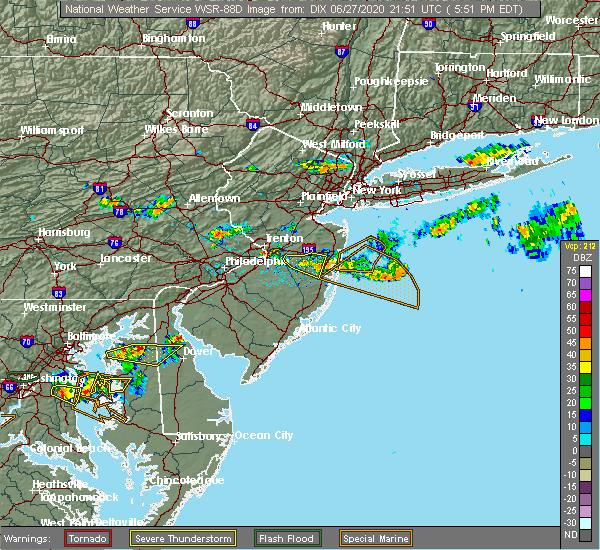 Radar Image for Severe Thunderstorms near Silver Ridge, NJ at 6/27/2020 5:53 PM EDT