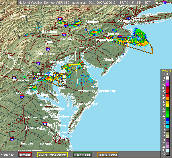 Radar Image for Severe Thunderstorms near Kent Narrows, MD at 6/27/2020 5:54 PM EDT