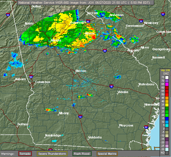 Radar Image for Severe Thunderstorms near Chauncey, GA at 6/27/2020 5:55 PM EDT
