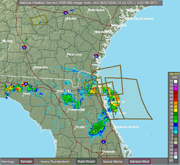 Radar Image for Severe Thunderstorms near Yulee, FL at 6/27/2020 5:58 PM EDT
