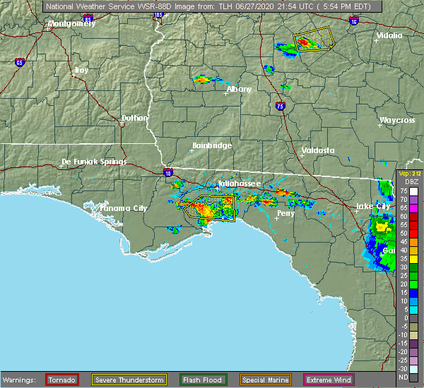Radar Image for Severe Thunderstorms near Tallahassee, FL at 6/27/2020 6:05 PM EDT