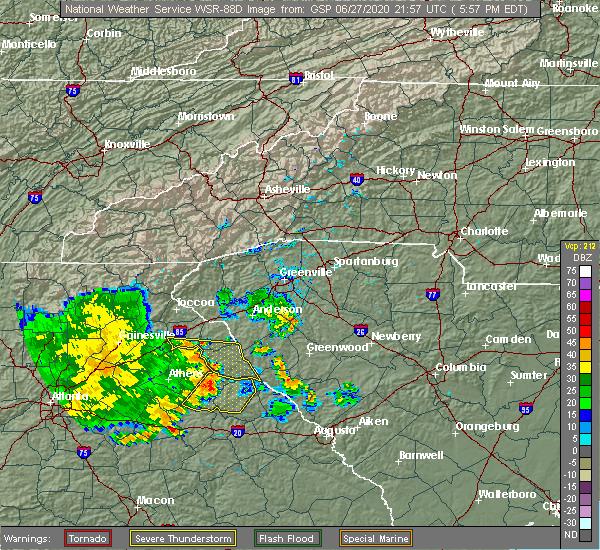 Radar Image for Severe Thunderstorms near Washington, GA at 6/27/2020 6:05 PM EDT