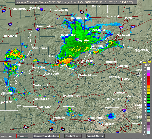 Radar Image for Severe Thunderstorms near New Middletown, IN at 6/27/2020 6:19 PM EDT