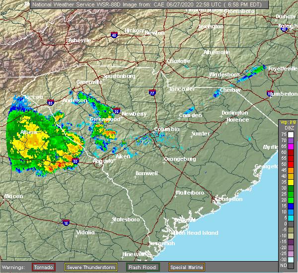 Radar Image for Severe Thunderstorms near Martinez, GA at 6/27/2020 7:00 PM EDT