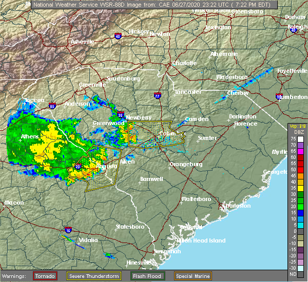 Radar Image for Severe Thunderstorms near Martinez, GA at 6/27/2020 7:26 PM EDT