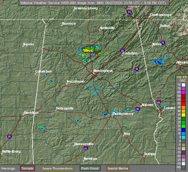 Radar Image for Severe Thunderstorms near Hanceville, AL at 6/27/2020 6:58 PM CDT