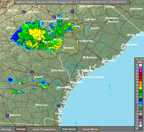 Radar Image for Severe Thunderstorms near Blackville, SC at 6/27/2020 8:08 PM EDT