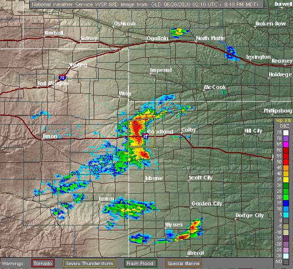 Radar Image for Severe Thunderstorms near Goodland, KS at 6/27/2020 8:16 PM MDT