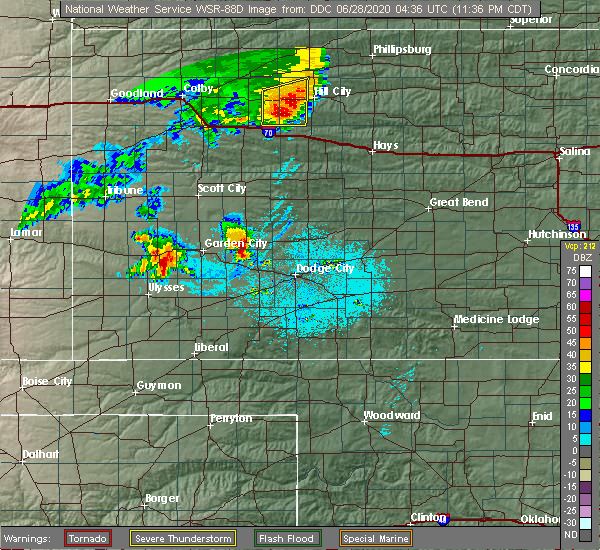 Radar Image for Severe Thunderstorms near Ingalls, KS at 6/27/2020 11:41 PM CDT