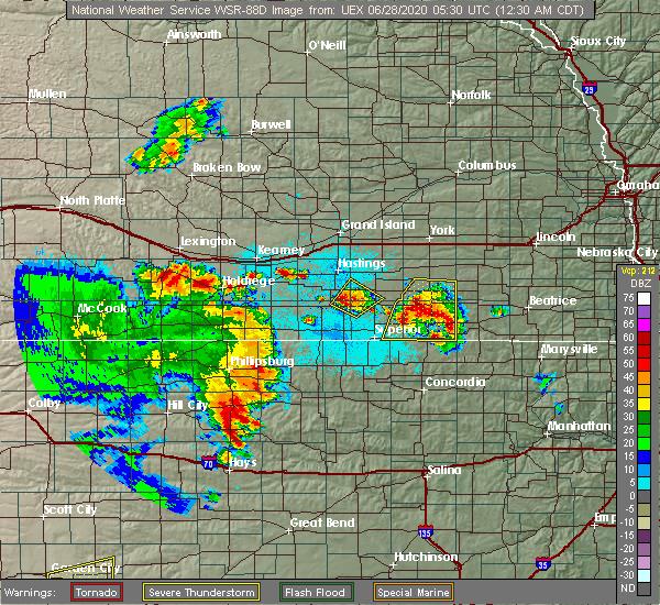 Radar Image for Severe Thunderstorms near Glenvil, NE at 6/28/2020 12:37 AM CDT