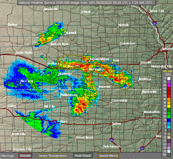 Radar Image for Severe Thunderstorms near Saronville, NE at 6/28/2020 1:30 AM CDT
