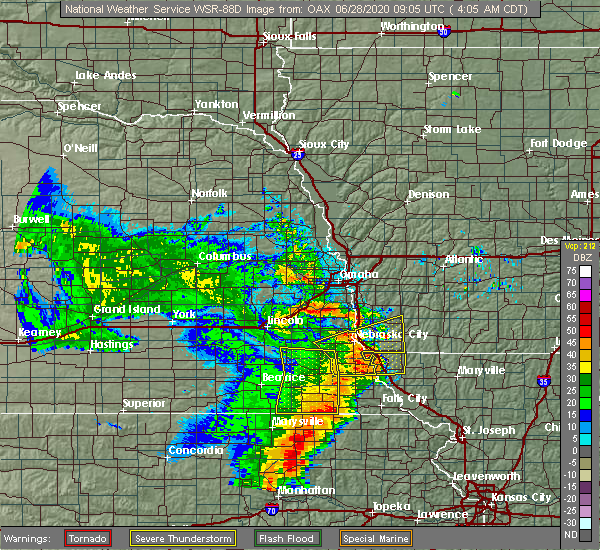 Radar Image for Severe Thunderstorms near Pawnee City, NE at 6/28/2020 4:10 AM CDT