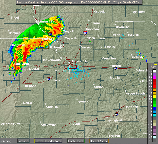 Radar Image for Severe Thunderstorms near Huron, KS at 6/28/2020 5:00 AM CDT