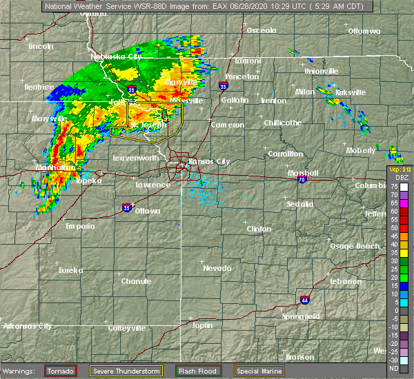 Radar Image for Severe Thunderstorms near Lewis and Clark Village, MO at 6/28/2020 5:33 AM CDT