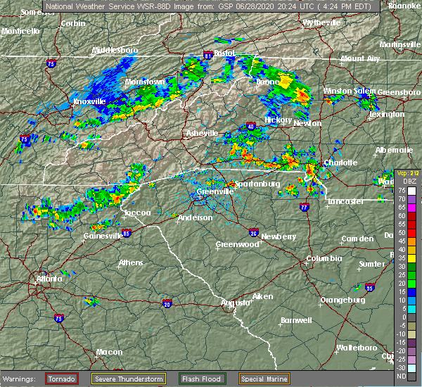 Radar Image for Severe Thunderstorms near Charlotte, NC at 6/28/2020 4:28 PM EDT