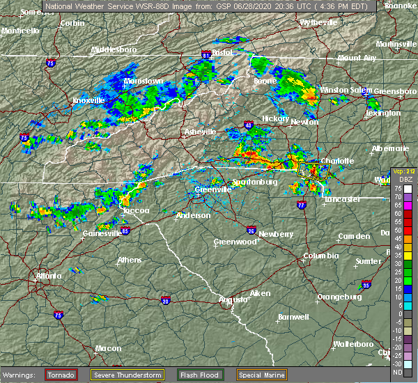Radar Image for Severe Thunderstorms near Charlotte, NC at 6/28/2020 4:44 PM EDT