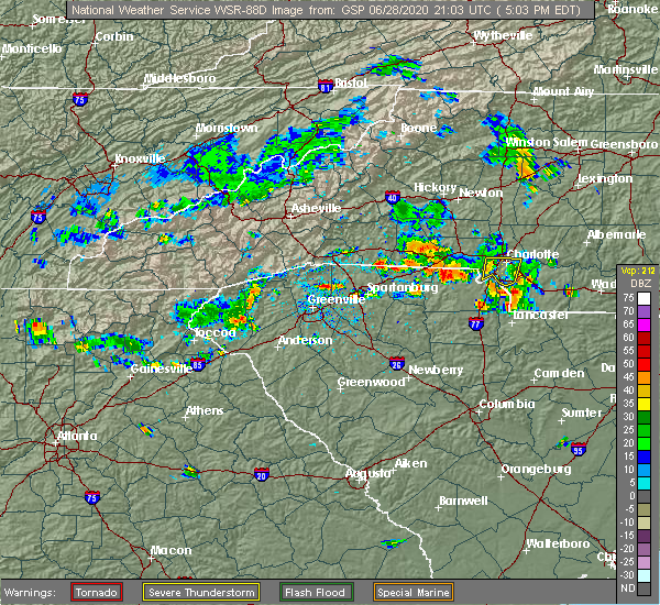 Radar Image for Severe Thunderstorms near Charlotte, NC at 6/28/2020 5:09 PM EDT