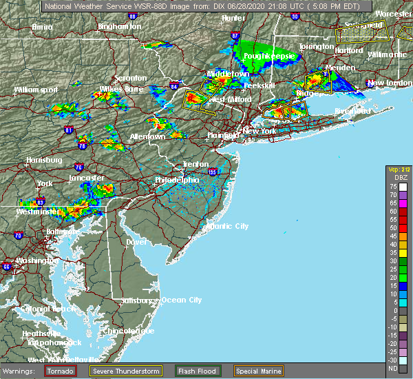 Radar Image for Severe Thunderstorms near Coatesville, PA at 6/28/2020 5:12 PM EDT