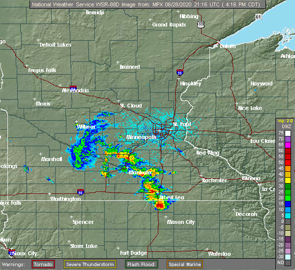 Radar Image for Severe Thunderstorms near Northwood, IA at 6/28/2020 4:22 PM CDT