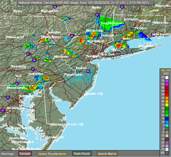Radar Image for Severe Thunderstorms near Paoli, PA at 6/28/2020 5:23 PM EDT