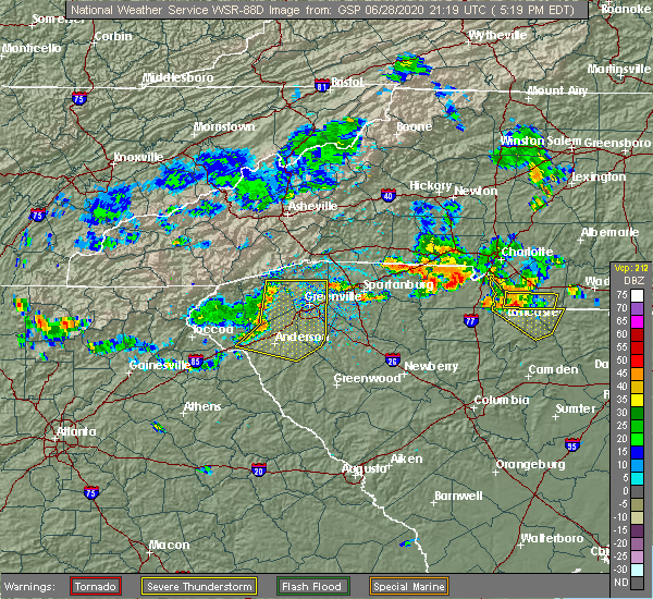 Radar Image for Severe Thunderstorms near Anderson, SC at 6/28/2020 5:27 PM EDT