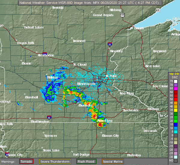Radar Image for Severe Thunderstorms near Northwood, IA at 6/28/2020 4:32 PM CDT