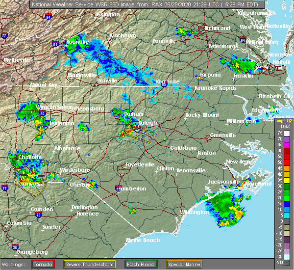Radar Image for Severe Thunderstorms near Garner, NC at 6/28/2020 5:33 PM EDT