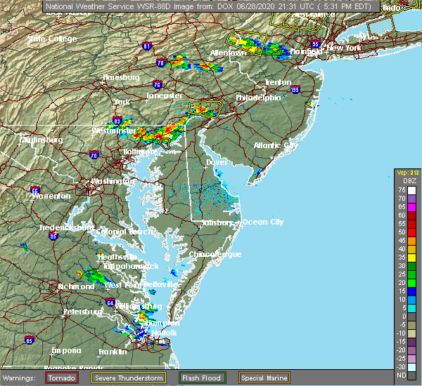 Radar Image for Severe Thunderstorms near Aberdeen, MD at 6/28/2020 5:36 PM EDT