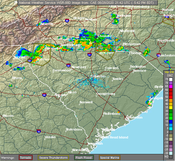 Radar Image for Severe Thunderstorms near Waxhaw, NC at 6/28/2020 5:48 PM EDT