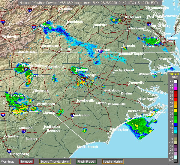 Radar Image for Severe Thunderstorms near Smithfield, NC at 6/28/2020 5:48 PM EDT