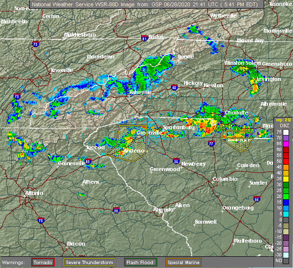 Radar Image for Severe Thunderstorms near Anderson, SC at 6/28/2020 5:50 PM EDT
