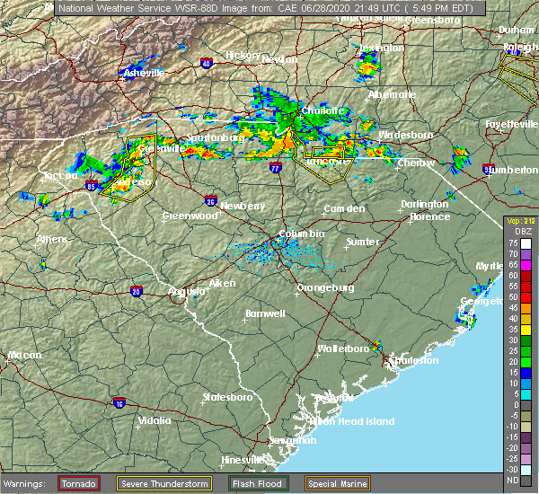 Radar Image for Severe Thunderstorms near Waxhaw, NC at 6/28/2020 5:56 PM EDT