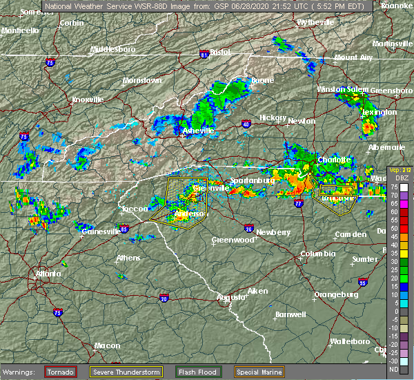Radar Image for Severe Thunderstorms near Taylors, SC at 6/28/2020 5:57 PM EDT