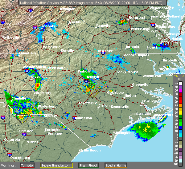 Radar Image for Severe Thunderstorms near Smithfield, NC at 6/28/2020 6:12 PM EDT