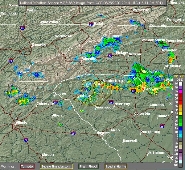 Radar Image for Severe Thunderstorms near Reidville, SC at 6/28/2020 6:17 PM EDT