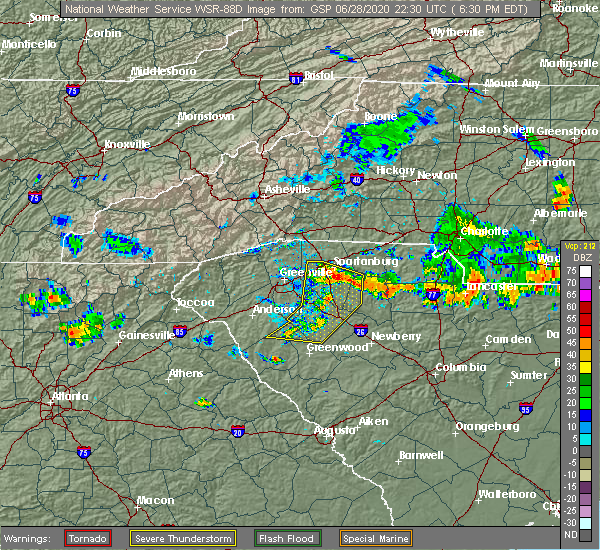 Radar Image for Severe Thunderstorms near Roebuck, SC at 6/28/2020 6:34 PM EDT