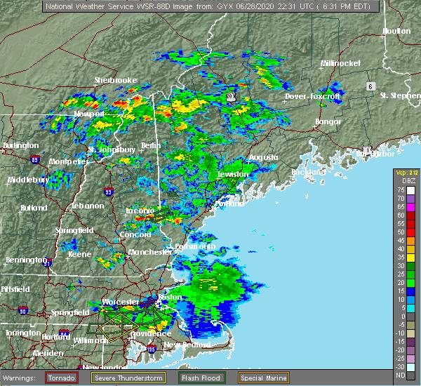Radar Image for Severe Thunderstorms near Sanford, ME at 6/28/2020 6:37 PM EDT