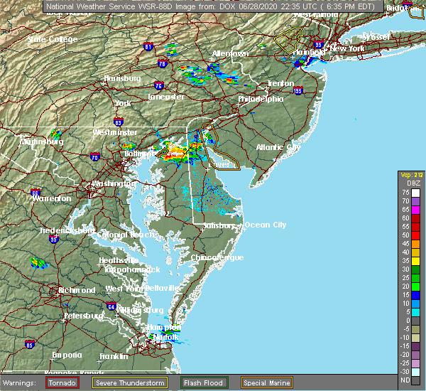 Radar Image for Severe Thunderstorms near Marydel, DE at 6/28/2020 6:44 PM EDT