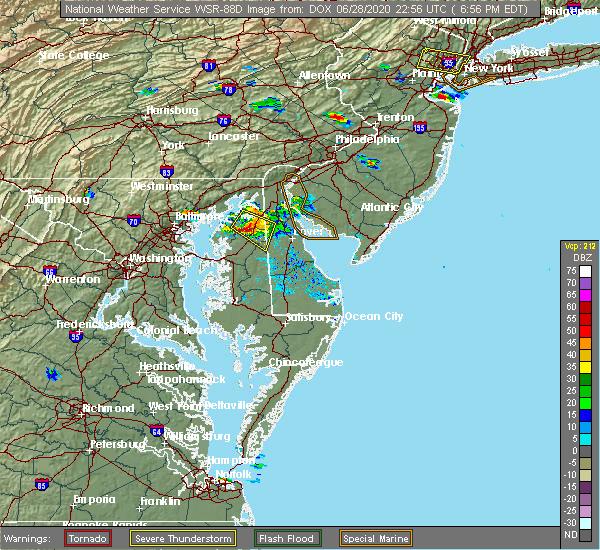 Radar Image for Severe Thunderstorms near Marydel, DE at 6/28/2020 7:02 PM EDT