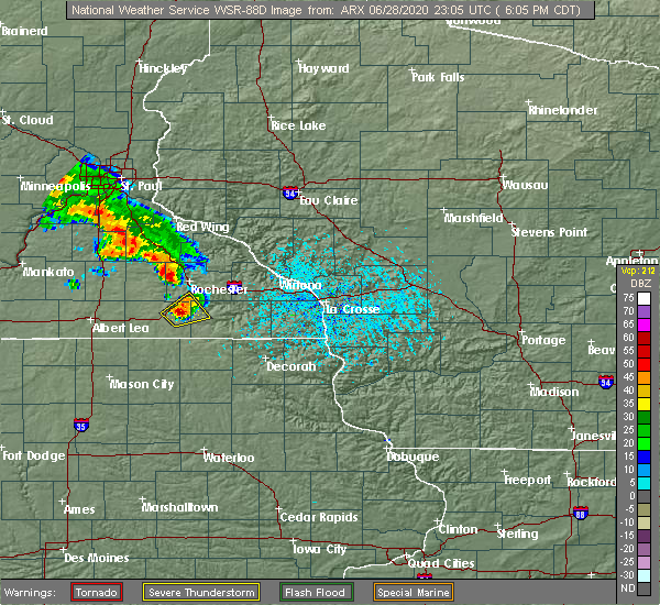 Radar Image for Severe Thunderstorms near Rochester, MN at 6/28/2020 6:11 PM CDT