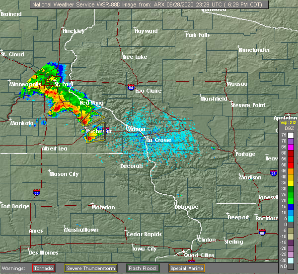 Radar Image for Severe Thunderstorms near Rochester, MN at 6/28/2020 6:36 PM CDT