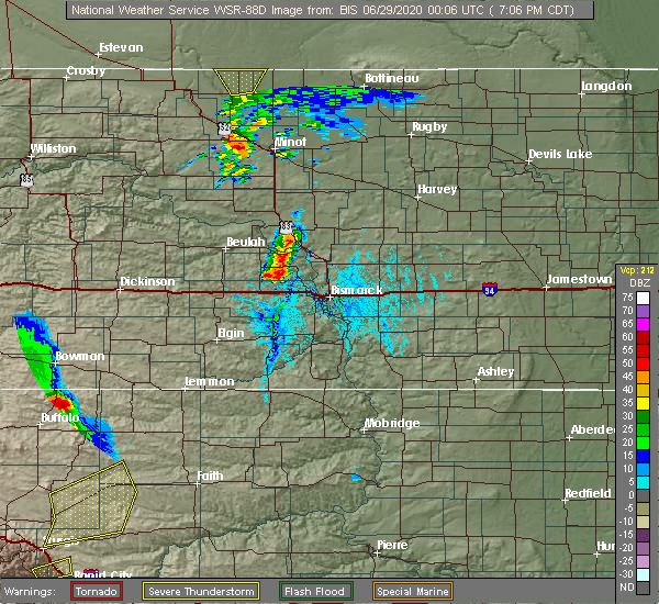 Radar Image for Severe Thunderstorms near Center, ND at 6/28/2020 7:07 PM CDT