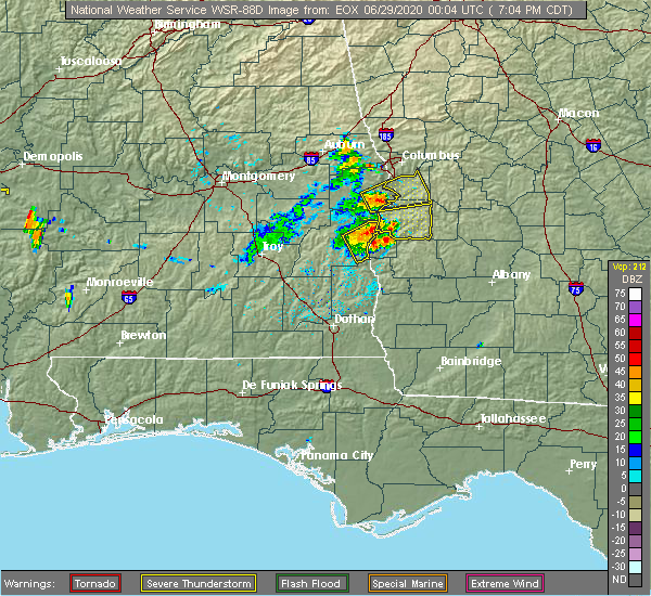 Radar Image for Severe Thunderstorms near Eufaula, AL at 6/28/2020 7:11 PM CDT