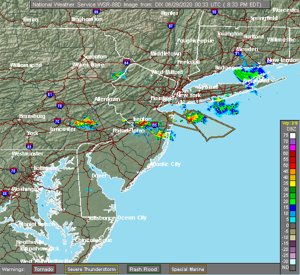 Radar Image for Severe Thunderstorms near Hightstown, NJ at 6/28/2020 8:37 PM EDT