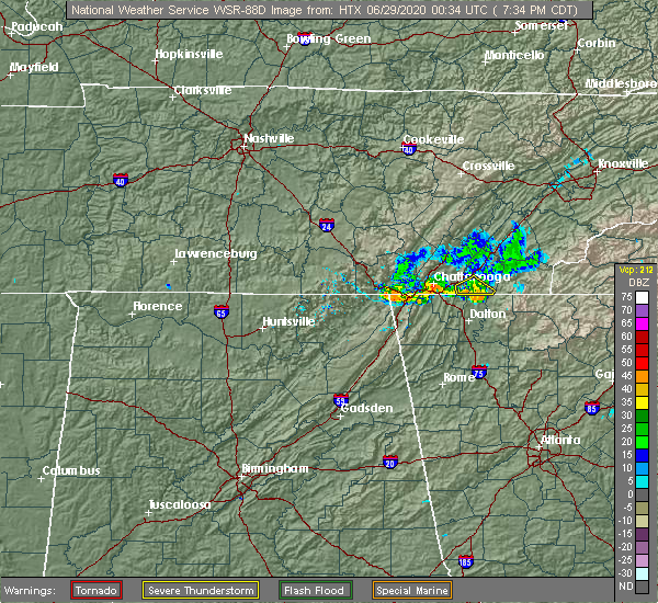 Radar Image for Severe Thunderstorms near Collegedale, TN at 6/28/2020 8:38 PM EDT
