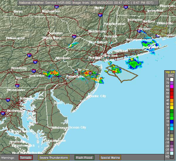 Radar Image for Severe Thunderstorms near Allentown, NJ at 6/28/2020 8:53 PM EDT