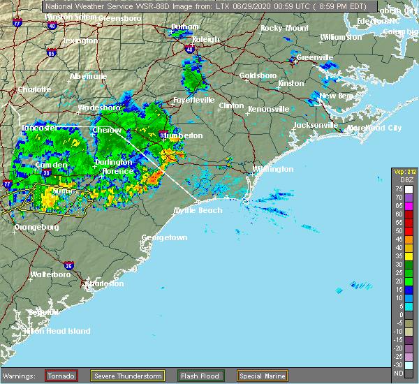 Radar Image for Severe Thunderstorms near Loris, SC at 6/28/2020 9:04 PM EDT